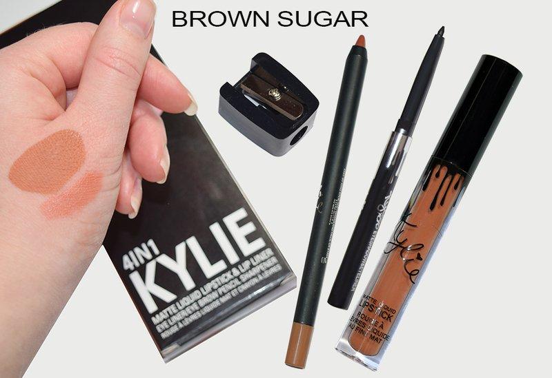 Матовый блеск KYLIE 4в1 (блеск + карандаш для губ + выдвижной черный карандаш для глаз + точилка) BROWN SUGAR